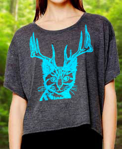 Middle Cat T-Shirt: Catalope Cat Jackalope Croptop